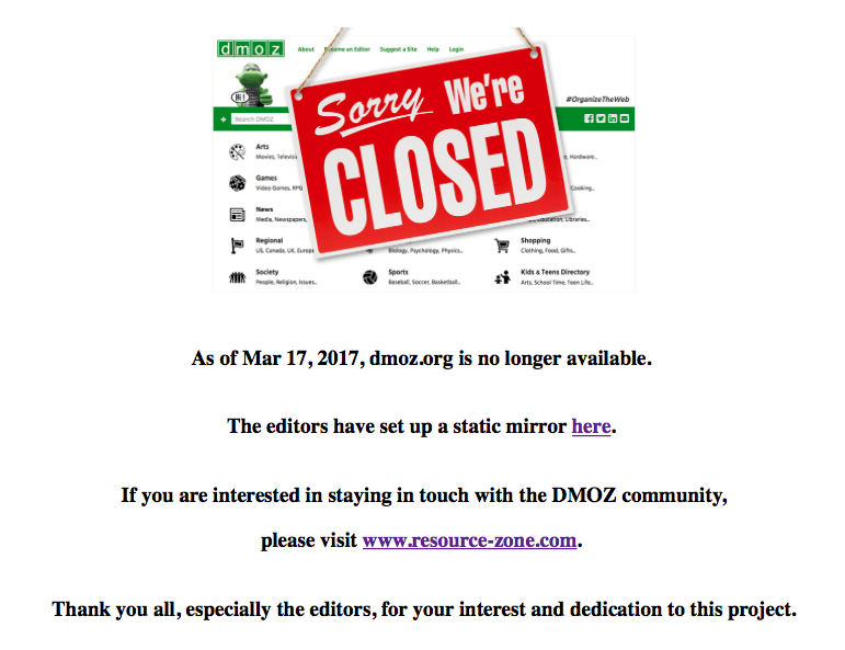 DMOZ.org-Closed